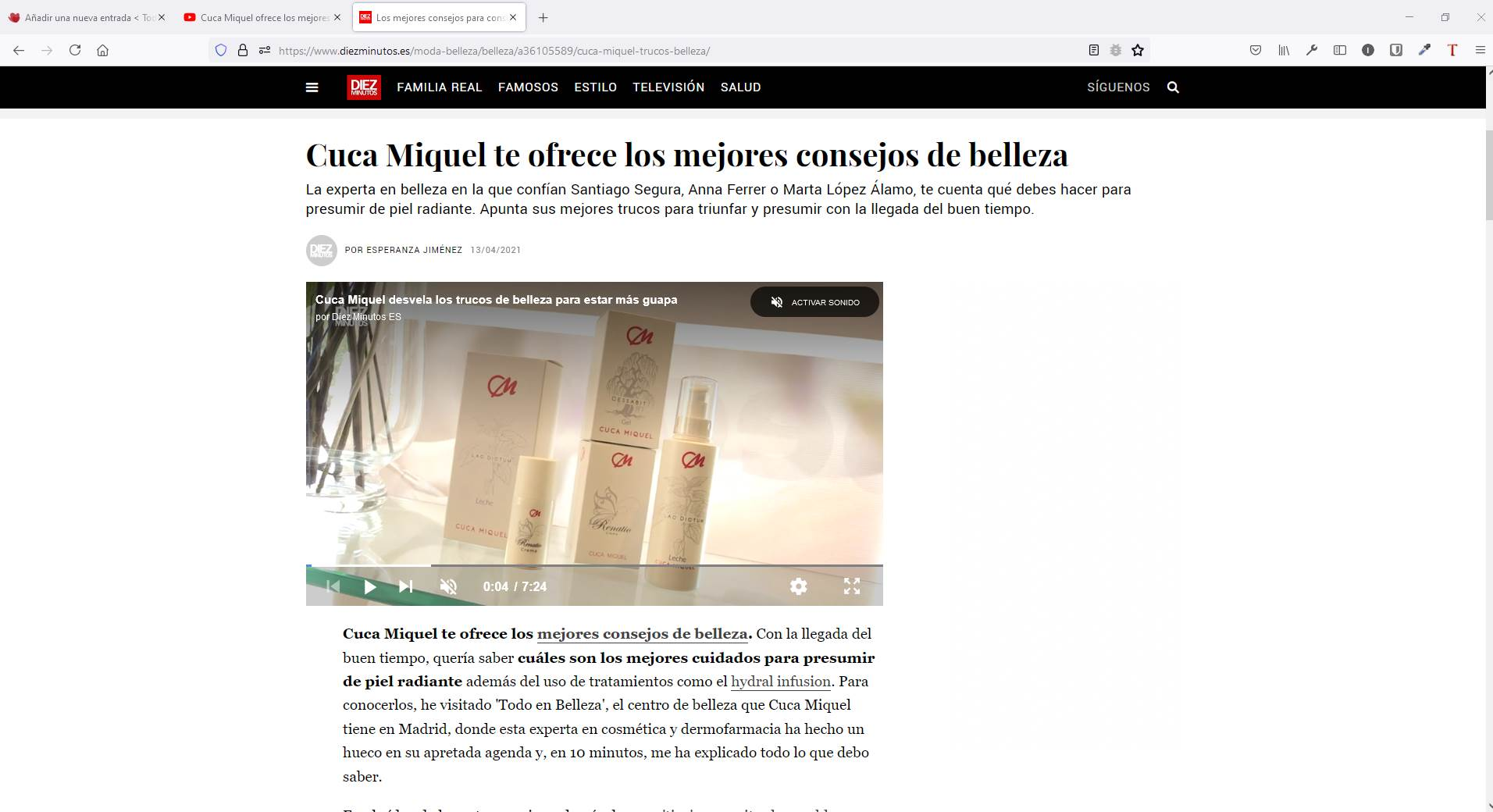 Cuca Miquel entrevistada por la Revista Diez Minutos en Todo en Belleza